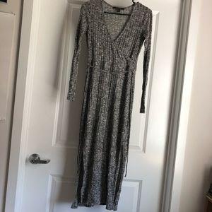 Grey Sweater Wrap Dress